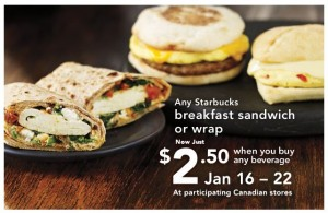 Starbucks Breakfast Sandwich Savings