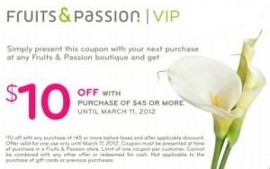 10 off at Fruits and Passion