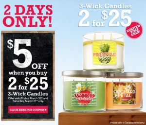 5 off Bath and Body Works Candles