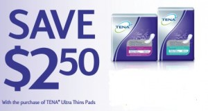 Save 2.50 on TENA Ultra Thin Pads