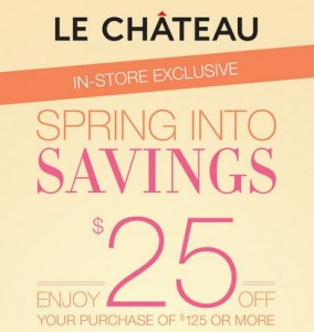 Save 25 at Le Chateau
