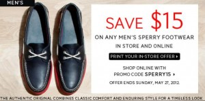 Save 15 off Mens Sperrys at The Bay