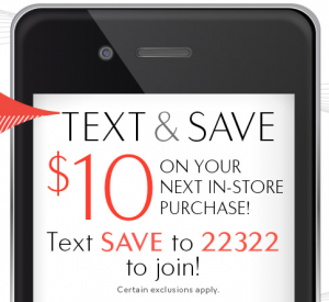 Text and Save at The Bay