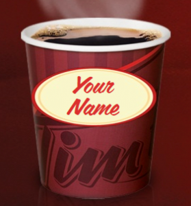 Tim Hortons Personalized Cup