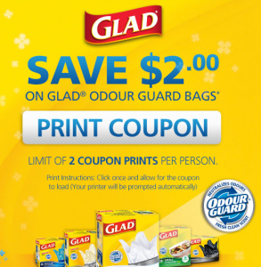 Save 2 on Glad Odour Guard Bags
