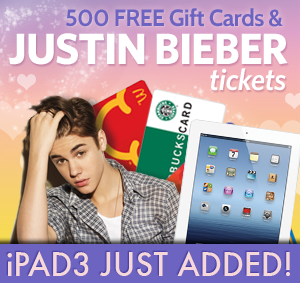 We're Giving Away 500 Gift Cards + Bieber Concert Tickets!